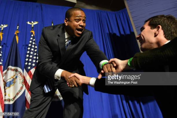 Newly elected Virginia Lieutenant Governor Democrat Justin Fairfax greets the audience as he takes the stage at his victory rally at George Mason...