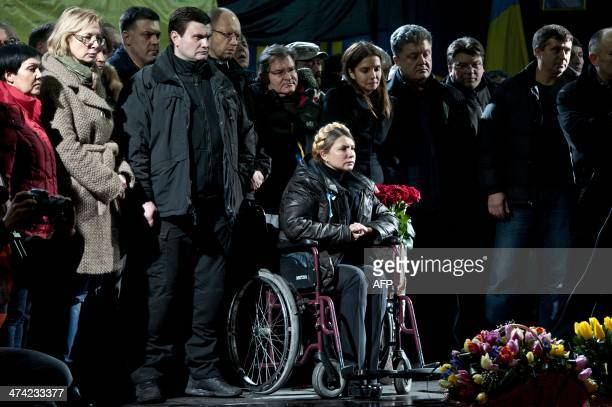 Newly freed Ukrainian opposition icon and former prime minister Yulia Tymoshenko in wheelchair attends a rally on Kiev's Independance square on...