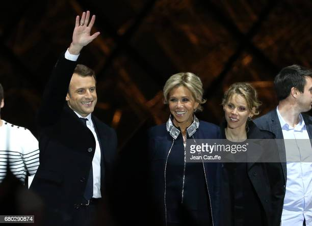 Newly French President elected Emmanuel Macron his wife Brigitte Macron her daughter Tiphaine Auziere celebrate his presidential election victory at...