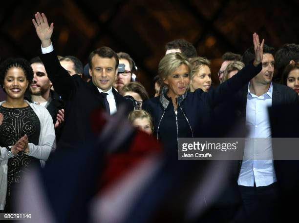 Newly French President elected Emmanuel Macron, his wife Brigitte Macron, her daughter Tiphaine Auziere celebrate his presidential election victory...