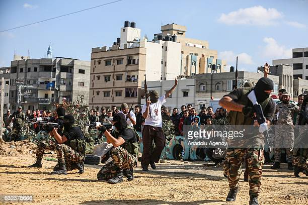 Newly graduated army officers perform their skills during their graduation ceremony organized by the Palestinian Interior Ministry in Gaza City Gaza...