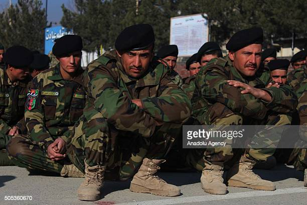 Newly graduated military officers are seen during Afghan National Armys graduation ceremony in Kabul, Afghanistan on January 17, 2016.
