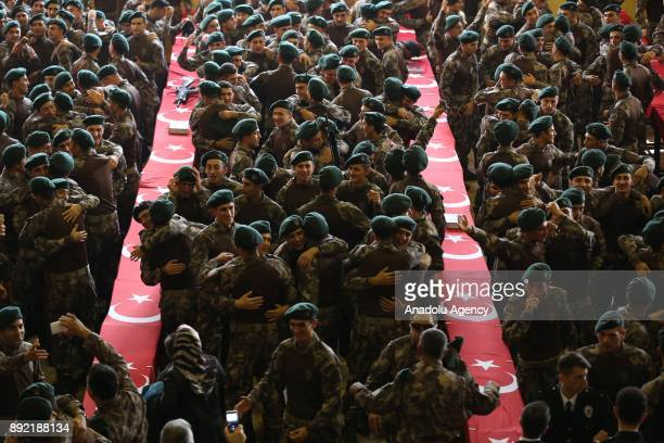 Newly graduated Turkish police special operations team members attend a graduation ceremony in Balikesir Turkey on December 14 2017