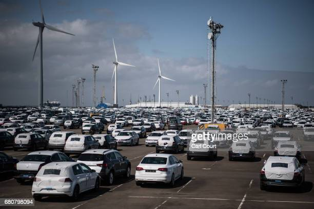 Newly imported cars from the European Union wait to be delivered to customers after being shipped to Sheerness port, on May 9, 2017 in Sheerness,...