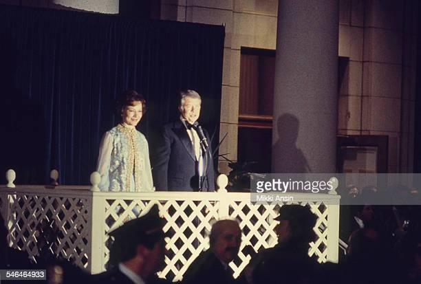 Newly inaugurated US President Jimmy Carter and First Lady Rosalynn Carter address attendees at their Inaugural Ball, Washington DC, January 20, 1977.