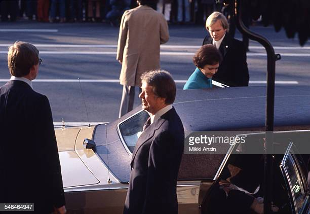 Newly inaugurated US President Jimmy Carter and First Lady Rosalynn Carter get into their car they leave Blair House to attend the Inaugural Parade...