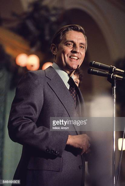 Newly inaugurated Vice President Walter Mondale addresses attendees at President Jimmy Carter's Inaugural Ball, Washington DC, January 20, 1977.