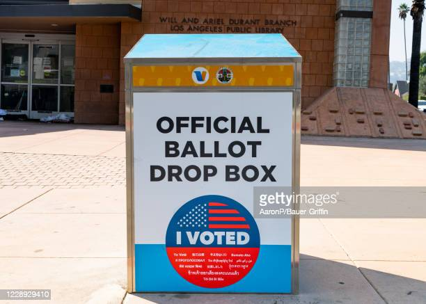 A newly installed Ballot Drop Box for the General Election in California is seen at the Will Ariel Durant Branch of the Los Angeles Public Library on...