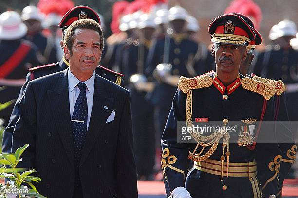 Newly installed Botswana president Ian Khama inspects the guard of honour on April 1 2008 after taking the presidential at an official ceremony in...