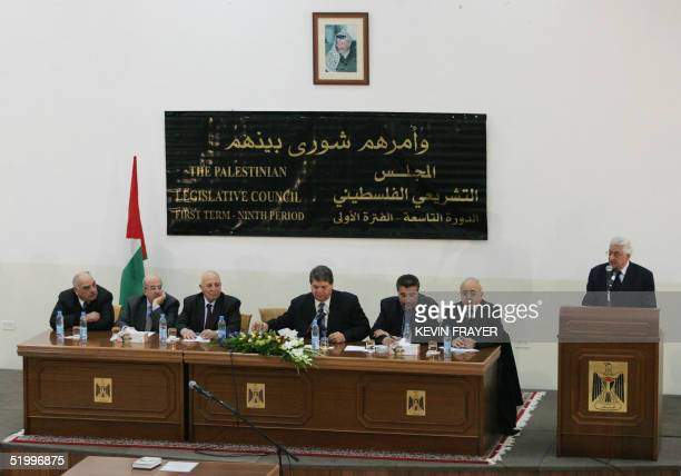 Newly installed leader Mahmud Abbas addresses the Palestinian parliament during his formal inauguration ceremony as president of the Palestinian...