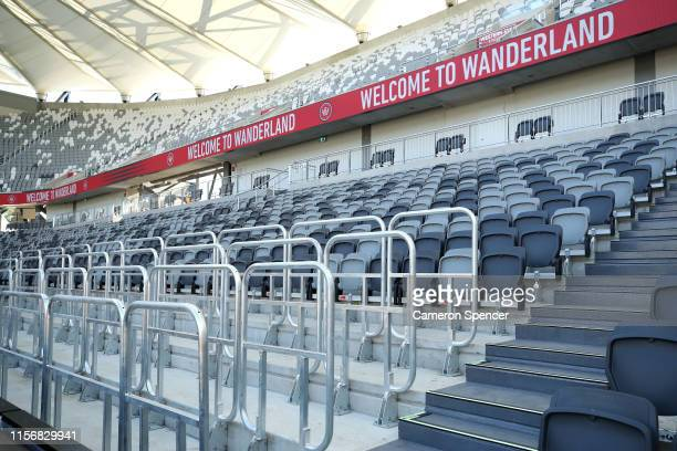 Newly installed safe standing rails replace seating in a spectator bay during a Western Wanderers media opportunity at Bankwest Stadium on June 19...