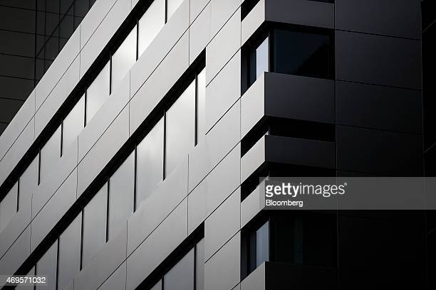 Newly installed windows sit in a new office complex No 5 Broadgate to be occupied by UBS AG as construction work nears completion in London UK on...