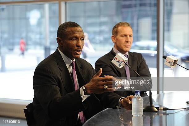 Newly introduced Toronto Raptors head coach Dwayne Casey answers questions from the media on June 21, 2011 at the Air Canada Centre in Toronto,...