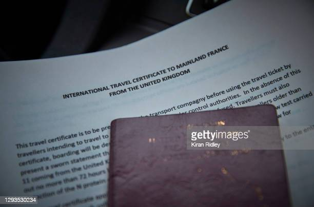 Newly introduced travel certificates are displayed for travel to mainland France on December 28, 2020 in Folkestone, England. Last week, both freight...