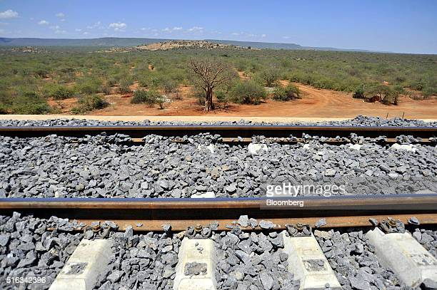 Newly laid rail track stretches across the Tsavo superbridge which will form part of the new MombasaNairobi Standard Gauge Railway line across the...