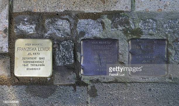Newly laid 'Stolperstein' memorial cobblestone togehter with old ones outside a residence on August 13, 2012 in Hamburg, Germany. Each stone has a...