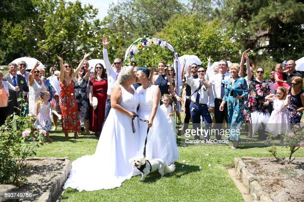 Newly married couple Amy Laker and Lauren Price pose on December 16 2017 in Sydney Australia Lauren and Amy are the first gay couple to be legally...