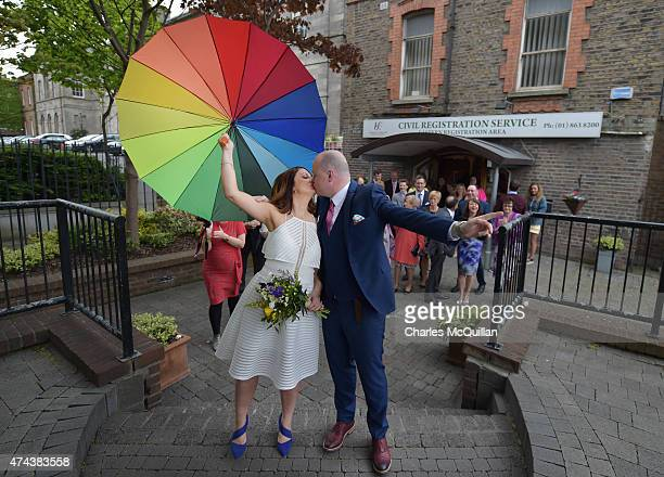 Newly married couple Anne Fox and Vincent Fox celebrate their wedding day by showing their support for the Yes campaign in favour of samesex marriage...