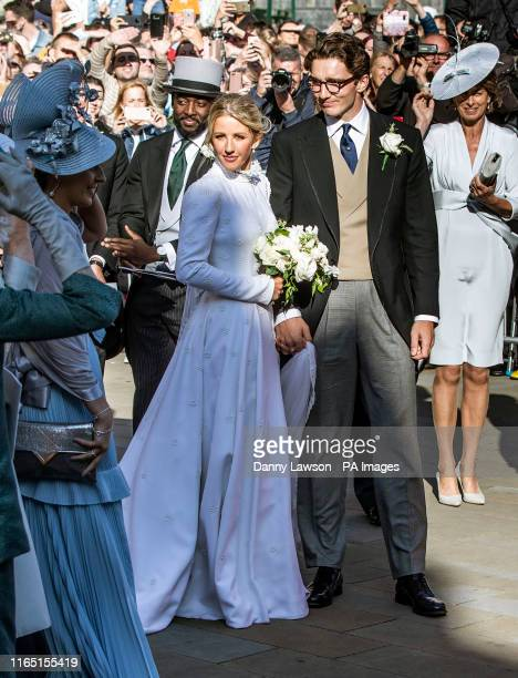 Newly married Ellie Goulding and Caspar Jopling leave York Minster after their wedding.