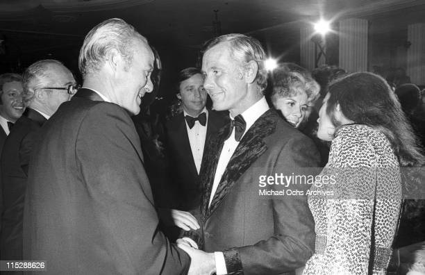 Newly married Joanna and Johnny Carson host of the Tonight Show attend a party after taping the 10th anniversary show on September 30 1972 in Los...