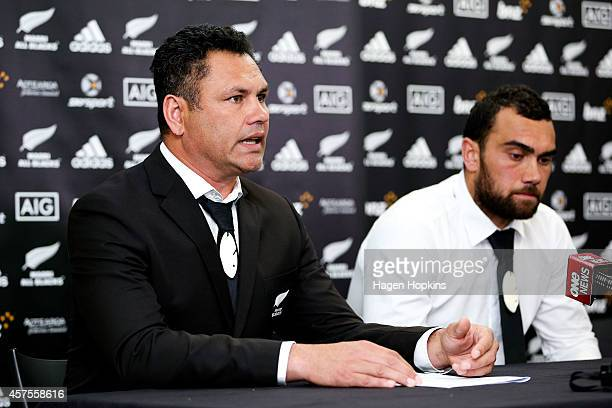 Newly named Maori All Blacks captain Charlie Ngatai looks on while Assistant Coach Tabai Matson speaks to the media during the New Zealand Maori All...