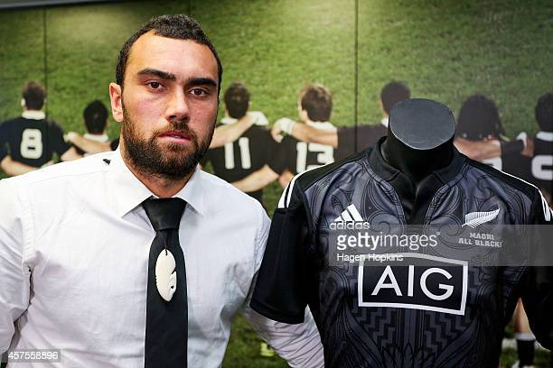 Newly named Maori All Blacks captain Charlie Ngatai poses with the team jersey during the New Zealand Maori All Blacks Squad Announcement at New...