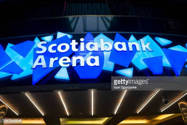 Newly named Scotiabank Arena signage is pictured inside the venue as seen before the regular season NHL game between the Ottawa Senators and the...