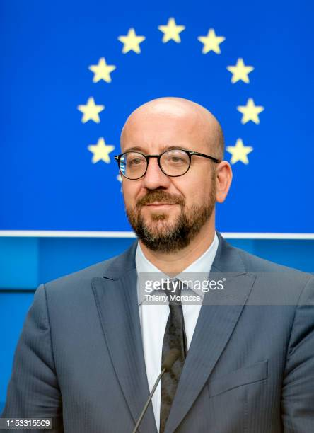 Newly nominated President of the EU Council: Belgium Prime Minister Charles Michel talks to media at the end of the third day of an EU summit at the...