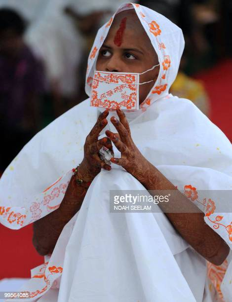 Newly ordained Jain monk Monica Tated takes part in a 'Jain Bhagavati Deeksha Mahostav' ceremony in Hyderabad on May 15 2010 As part of taking the...