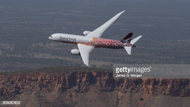 A newly painted Qantas Boeing 787 Dreamliner aircraft takes part in an air to air filming shoot on March 2 2018 in Alice Springs Australia The...