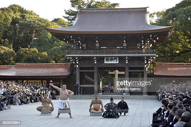 Newly promoted yokozuna Kisenosato who is the 72nd wrestler to reach the highest rank in professional sumo performs at the Meijijingu Shrine in Tokyo...