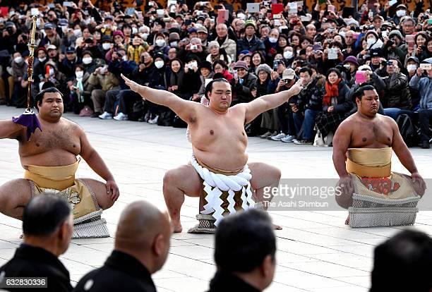 Newly promoted yokozuna sumo grand champion Kisenosato performs the 'DohyoIri' ring purification ritual at Meiji Jingu Shrine on January 27 2017 in...