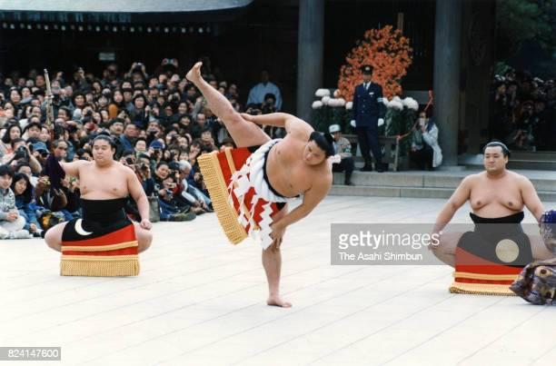Newly promoted yokozuna Takanohana performs the 'DohyoIri ' at Meiji Jingu Shrine on November 26 1994 in Tokyo Japan