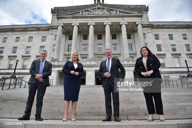Newly reappointed Deputy First Minister Michelle ONeill of Sinn Fein attends a photo call with party colleagues and ministerial team members Conor...