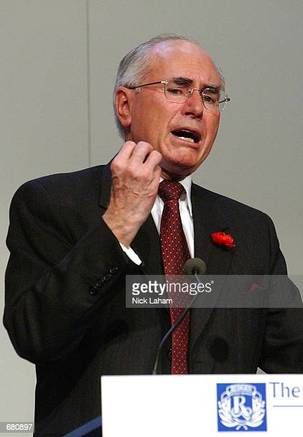 Newly re-elected Australian Prime Minister John Howard of The Liberal Party gives a speech during the Liberal Party's victory celebrations after the...