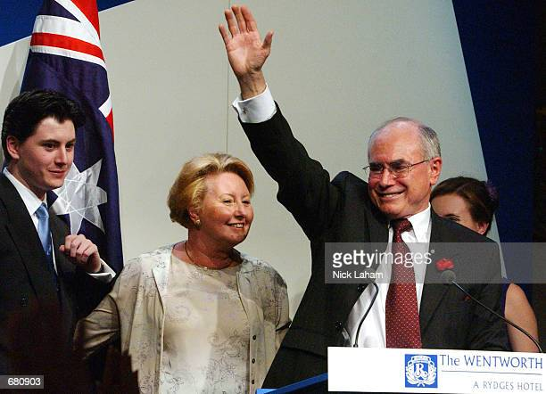Newly reelected Australian Prime Minister John Howard of The Liberal Party celebrates victory with his wife Janette and son Richard during the...