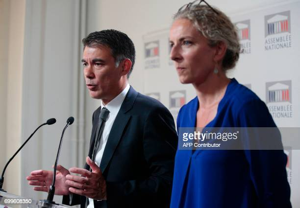 Newly re-elected French socialist party's spokesperson and MP Olivier Faure , gestures as he speaks during a joint press conference with French left...