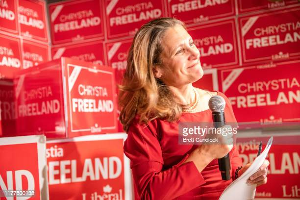 Newly reelected Liberal party member Chrystia Freeland gives a speech following Canada's 43rd general election at The Peacock Public House on October...