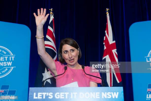 Newly reelected NSW Premiere Gladys Berejiklian celebrates at the Sofitel Wentworth on March 23 2019 in Sydney Australia The 2019 New South Wales...