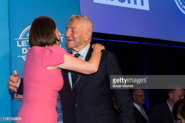 Newly reelected NSW Premiere Gladys Berejiklian celebrates with her father Krikorat at the Sofitel Wentworth on March 23 2019 in Sydney Australia The...