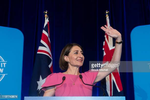 Newly reelected NSW Premiere Gladys Gladys Berejiklian celebrates her win in the State Election on March 23 2019 in Sydney Australia The 2019 New...