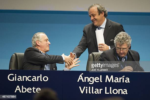 Newly reelected UEFA president Michel Platini receives congratulations from Giancarlo Abete and Angel Maria Villar Llona at the Ordinary UEFA...