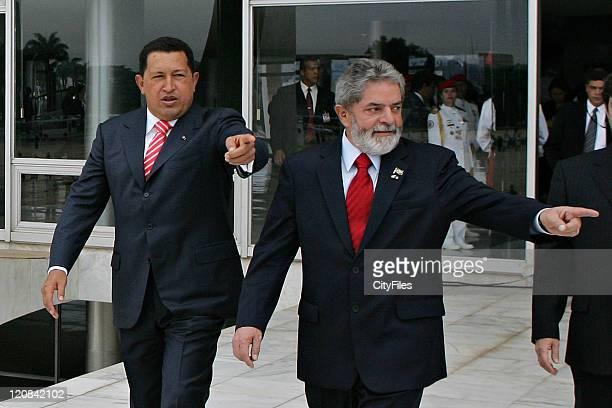 Newly re-elected Venezuela President Hugo Chavez meet with Brazilian President Luiz Inacio Lula da Silva at Planalto Palace. Chavez visits Brazil as...