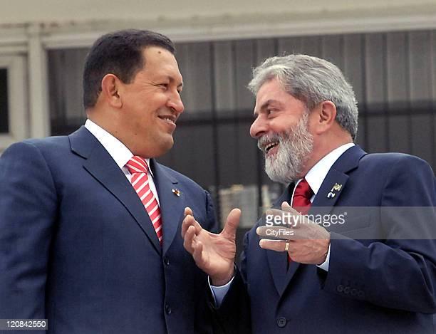 Newly reelected Venezuela President Hugo Chavez meet with Brazilian President Luiz Inacio Lula da Silva at Planalto Palace Chavez visits Brazil as...