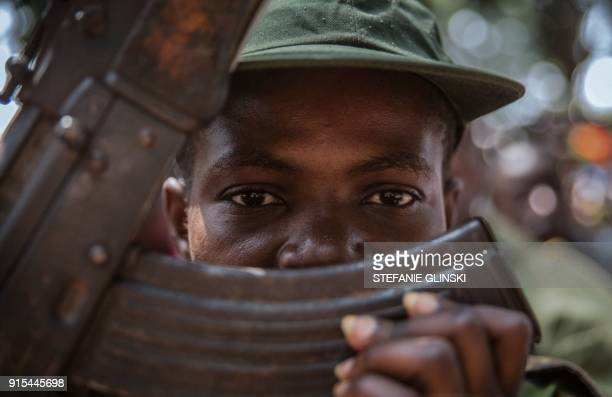 A newly released child soldier attends a release ceremony in Yambio South Sudan on February 7 2018 More than 300 child soldiers including 87 girls...