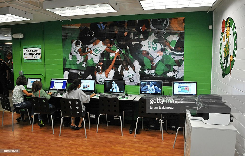 Newly renovated computer room is displayed during the unveiling of the Learn & Play Center at the Boston Centers for Youth & Families (BCYF) Tobin Community Center on June 9, 2010 in Boston, Massachusetts.