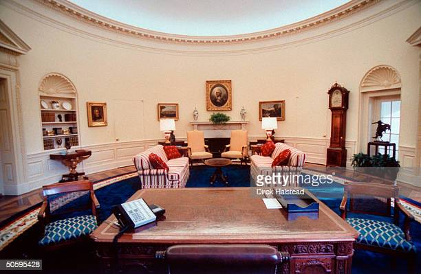 Newly renovated WH Oval Office w new color scheme artwork couches covered w striped fabric done by AR designer Kaki Hockersmith under Pres Clinton's...