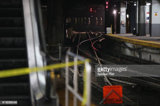Newly repaired train tracks stand in New York's Pennsylvania Station on February 16 2018 in New York City Amtrak gave a media tour on Friday to show...