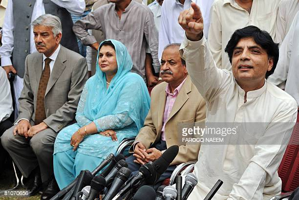 Newly resigned federal minister of former premier Nawaz Sharif's Pakistan Muslim LeagueNawaz party Nisar Ali Khan attends with other colleagues...