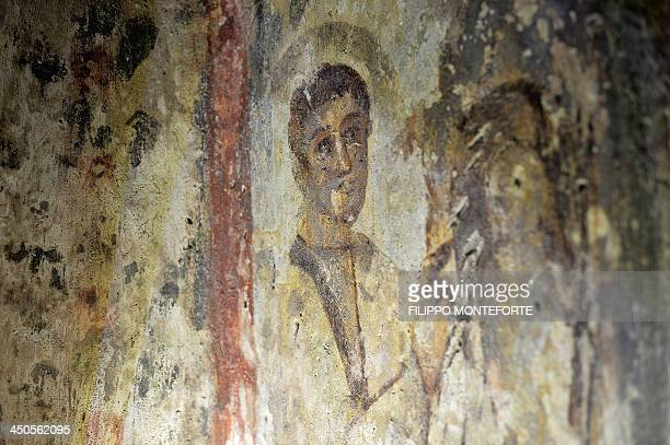 A newly restored fresco is pictured at the Saint Priscilla catacombs in Rome on November 19 2013 The underground tunnels that run underneath San...